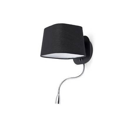 e27 wandleuchte aus metall schwarz mit leselampe sweet. Black Bedroom Furniture Sets. Home Design Ideas